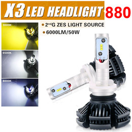 Wholesale led x3 - 1 Set 50W 6000LM X3 LED Headlight Super Slim Conversion 880 Fanless LUMILED ZES LED Chips All-in-one 3K 6.5K 8K Color Film Free DIY Driving