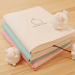 Wholesale Cute Notebook Diary - 2017-2018 Cute Kawaii Notebook Cartoon Molang Rabbit Journal Diary Planner Notepad For Kids Gift Korean Stationery Three Covers