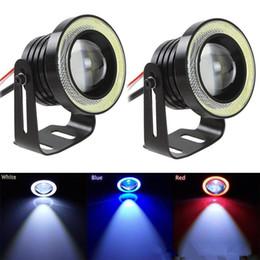 Wholesale h4 led headlight bulbs - New 2PCS 30W 12V COB LED Car Fog Light Lamp 2.5 3 3.5 Inch 1200LM Auto Car Angel Eyes Light 64 76 89 mm Headlight Bulbs