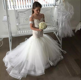 Wholesale Shoulder Strap Girls Dress - 2017 White Lovely Spaghetti Straps Mermaid Tulle Flower Girl Dresses Lace Button Back Kids Pageant Dresses For Weddings First Communion