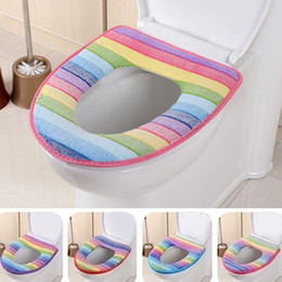 Wholesale Cotton Lid Covers - bathroom set colorful toilet set cover wc seat cover bath mat holder closestool lid cover Toilet seat cushion