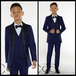 Wholesale three piece suit boy - 2018 Cheap Boys Tuxedo Boys Dinner Suits Boys Formal Suits Tuxedo for Kids Tuxedo