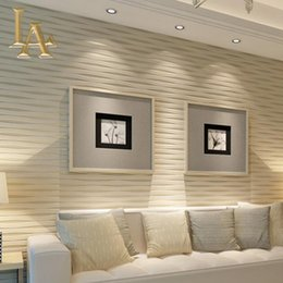 Wholesale wallpaper roll stripes - Wholesale- Modern Beige Horizontal Striped Wallpaper 3D Living room Flocking Contemporary Luxury Homes Stripe Wall paper Rolls W392