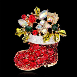 Wholesale Gifts Boots - Fashion Crystal Pins Brooches Xmas Gift decoration jewelry Brooches snowman socks rhinestone brooch red colour christmas boots brooches