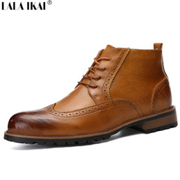 Wholesale Brogue Boots - Wholesale-LALA IKAI Men Boots Leather Lace Up Front Men Ankle Boots Round Toe Low Heel Botas Men Solid Brogues Print Boots XMF0118-5