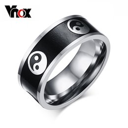 Wholesale Chinese Rings For Men - Wholesale- Vnox Vintage Style Men's Ring Stainless Steel Men Jewelry Chinese Taoism Taiji Rings for Men