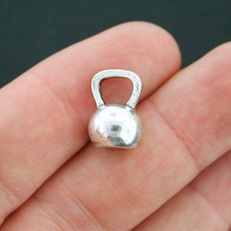 Wholesale 12 Antique Plates - Wholesale- Kettlebell Charms Antique Silver Tone 3D Metal Dumbbell Charms Pendant 12*18mm 30pcs lot