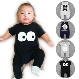 Wholesale Wholesale Organic Baby Rompers - 4 Styles Ins Baby romper suit Cotton short sleeve letter NO SLEEP Totoro Printing rompers boys girls costumes Toddlers bodysuits tights sets