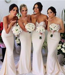 Wholesale Lace Bridemaid Dresses Cheap - Cheap Sexy Mermaid sweetheart Beaded Bridemaid Dresses Floor length Wedding Bride Party Dresses