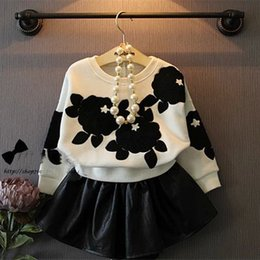 Wholesale Leather Dress Skirts - 2017 children clothing set long sleeve flower T-shirt+leather PU dress skirts 2pcs set girl's outfits kids black suit zj17-6