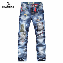 Wholesale Trousers Winter Size Xl - Wholesale-SHAO BAO brand personality popular clothing style hole patch jeans autumn and winter fashion men straight beggar trousers blue
