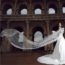 5m véu de casamento nupcial on-line-Novas Veils Longo elegantes do casamento com Applique Borda Branco / doce do Marfim Princesa Acessórios Wedding para o vestido de casamento romântico 5M Bridal Veils