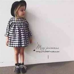 Wholesale Baby White Plaid Dress - 2017 ins Girls Baby Childrens Dresses Black White Plaid Princess Dress for Girls Clothing Spring Ball Gown Dresses Boutique Clothes