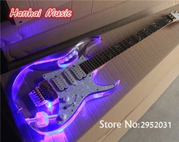 Wholesale Pickguard Gold - wholesale Free Shipping-Electric Guitar,Acrylic Body,Gold Floyd Rose,LED Lights on Fretboard and Body,White Pearl Pickguard,can be Custom