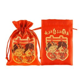 Wholesale Wholesale Grooming Bag - Creative Bride And Groom Pattern Candy Bags Silk Pouches Wedding Party Favour Gifts Packing Free Shipping ZA4054