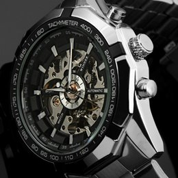 Wholesale Winner Skeleton Silver Automatic - WINNER automatic Watches Branded Mens Classic Stainless Steel Self Wind Skeleton Mechanical Watch Fashion Cross Wristwatch