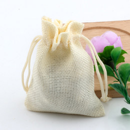 Wholesale Gifts Jewelry Linen Bags - Hot ! 50pcs Beige Linen Fabric Drawstring bags Candy Jewelry Gift Pouches Burlap Gift Jute bags 10x14cm  13x18cm   15x20cm