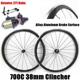 Wholesale 24 Aluminum Wheels - 700C 38mm Carbon Bike Wheels 3K Glossy Clincher Road Bicycle Wheels Alloy Aluminum Brake Surface With Novatec 271 Hubs 20 24 Holes