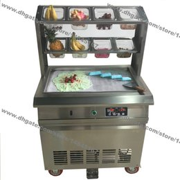 Wholesale Cream Maker Machine - Free Shipping Stainless Steel 110v 220v Electric 64x40cm Fry Pan Thai Fried Ice Cream Yogurt Roll Maker Machine With 8 Boxes
