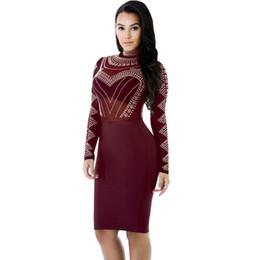 Wholesale Women S Sheer Robes - Sexy Bodycon Dress 5 Colors Mandarin Collar Long Sleeves Gauze Patchwork Blending Sheath Knee Length Dress See Through Mesh Robe WT72902