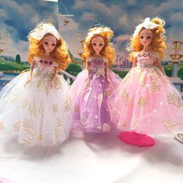 Wholesale Dresses For Big Figure - 6pcs Lot 30cm Big Movies Cartoon 3D Eye Barbie Toy Doll For Girl Baby Beautiful Dress BJD Dolls Best Gifts #2