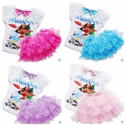 Wholesale Summer Baby Skirt Top - 4 Colors 2pcs set Newly Baby Girls Outfits Moana Printing Short Sleeve Top With TuTu Lace Skirts Moana Kids Suit Clothing Sets CCA5481 30set
