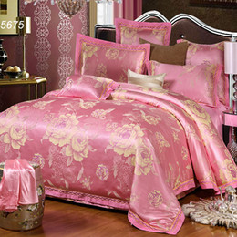 Wholesale Romantic Bedding Sets - Big floral pink silk bedding set peony jacquard embroidered 4pcs bed set lovers romantic bed clothes quilt cover bedsheet 5675