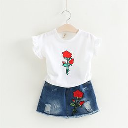 Wholesale Kids Clothes Jeans Skirts - Girls Clothing Sets 2017 Brand Summer Style Children Clothing Sets Print T Shirt+Floral Jeans Skirt 2Pcs Kids Clothes Suits