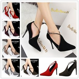 Wholesale Shoes Pump Platform Velvet - Nice Gdgydh Spring Strap Crystal Thick Heel Ultra High Heels Shoes Woman Platform Open Toe Velvet Single Shoes Womens Pumps