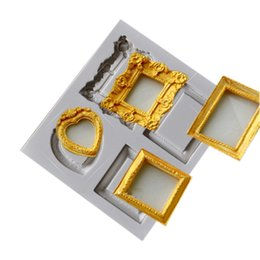Wholesale Kitchen Framed Pictures - 3D Silicone mold mirror picture frame modelling cake decoration tools fondant mould kitchen Baking accessories 50pcs Free DHL Fedex