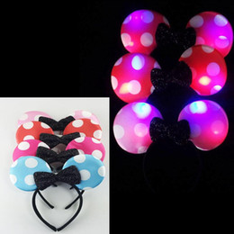 Wholesale Led Headbands Light Up - 2017 Wholesale Bowknot EARS LED LIGHT UP FLASHING BOW HEADBANDS PARTY FAVORS Party Decoration Supplies Gift