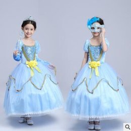 Wholesale Ribbon Clothing Brand - Princess Halloween Party Evening Costume Children Cosplay Dress Party Dresses Girl Princess Oversleeve Dress Kids Clothes Girls Dresses