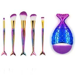 Wholesale Makeup Brushs - Mermaid Tail Makeup Brush Set Big Fish Tail Pro Foundation Powder Eyeshadow Make up Brush 6pcs set Contour Blending Cosmetic Scales Brushs
