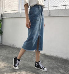 Wholesale knee skirt denim blue - New Chic Fashion Women's Casual Denim Long Skirts Split Bodycon Skirts with Pockets Chic Light Blue Skirts JHJ