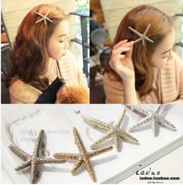Wholesale Starfish Hairpins - Han edition hairpin duckbill clip starfish alloy new boutique wholesale supply of goods two color gold and sliver shipping free
