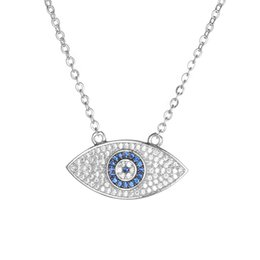 Wholesale Cz Solitaire - KIVN Fashion Jewelry Spiritual Evil eye Pave CZ Cubic Zirconia Pendant Necklaces for Women