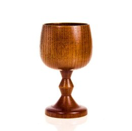 Wholesale Travel Tea Cup Wholesale - Jujube Wooden Wine Goblet Hand-made Water Cup Natural Wooden Tableware Drinking Tea Cup Milk Travel Wine Cup OOA2984