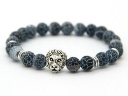 Wholesale Jade Color Stones - Ailatu New Design Jewelry Wholesale 8mm Weathering Agate Stone Antique Silver & Gold Color Lion Head Bracelets