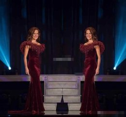 Wholesale Women Beauty Pageant Dresses - 2017 Elegant Miss World Pageant Evening Gowns Beauty Queen Burgundy Velvet with Feather Mermaid Women Formal Wear Long Prom Dresses Beading