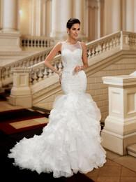 Wholesale Elegant Beaded Satin Bridal Gowns - Beaded Jewel Neck Button Mermai Wedding Dresses 2017 Appliques Beaded Elegant Garden Vestios De Novia Plus Size Bridal Gowns