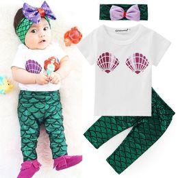 Wholesale Pu T Shirts - Mermaid Baby girl sets clothing Outfits T shirt Short sleeve +Scale PU pant+ Bow headband 3pcs set 2017 Summer Autumn