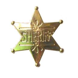 Wholesale Ornament Brooch - Wholesale- New gold or silver metal SHERIFF words David hexagram star charm bar pin brooch ornament fashion jewelry 6Pcs lot free shipping