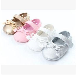 Wholesale Hollow Bow Shoes - Newborn Soft Sole Baby Shoes 2017 Summer Bow PU Leather Hollow out Breathable Princess Baby Girl Shoes Toddler Prewalker Baby First Walker