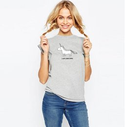 Wholesale Cute Summer Tops For Women - Kawaii cute Unicorn printed summer t shirt women tops short sleeve o-neck gray t-shirt cartoon clothing for women tees plus size