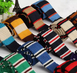 Wholesale Narrow Design - Men Knitting Neck Ties Knots tie Men's casual Solid kintted polyester Silk Narrow Design Flat-end Necktie Neck Ties 20 pcs free shipping