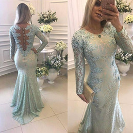 Satinado plisado online-2021 Sage Sirena Vestidos de noche Cuello de noche Mangas largas Lace Applique Sweep Train Satin Formal PROM Dress Pleats Fiesta de la fiesta Personalizado