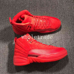 Wholesale Real Leather Basketball Shoes - Drop Shipping Air Retro 12 Mens Basketball Shoes in Red Suede With Real Carbon Fiber us Size 8-13 Ship With Box