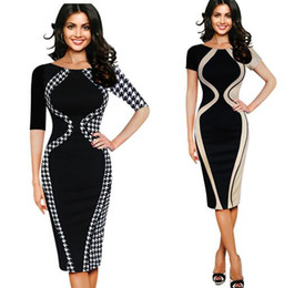 Wholesale Long Sleeve Tight Black Dress - Women Sexy Tight Bodycon National Printed Dress Long Sleeve Slim Club Dress Knee Length Package Hip Elastic Party Dresses C2378