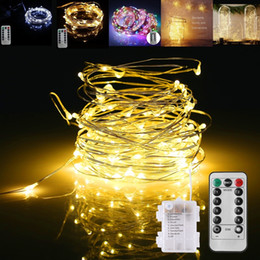 Wholesale Battery Timer Outdoor Lights - LED String Lights Battery Powered Remote Control Copper Wire Christmas Tree Timer Rope Lighting 16FT 5M 50 leds IP65 Indoor Outdoor