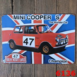 Wholesale Room Plaques - Bar Metal Paint Mini Car Tin Sign Vintage Decor Tin Sign Bar Cafe Hotel Wall Poster Metal Sign Retro Painting Plaque Art Craft Room